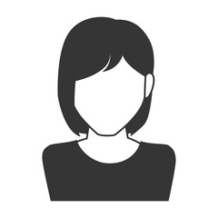 woman girl female person short hair  face head human vector graphic isolated and flat illustration