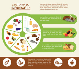 Nutrition and Healthy food concept represented by Infographic cake icon. Colorfull and flat illustration.
