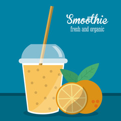 smoothie orange juice glass drink healthy icon. Colorfull and flat illustration. Vector graphic