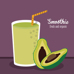 smoothie avocado juice glass drink healthy icon. Colorfull and flat illustration. Vector graphic