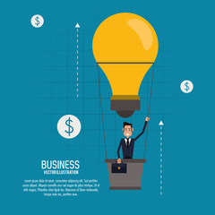 Businessman bulb hot air balloon man male business icon. Colorfull and flat illustration. Vector graphic