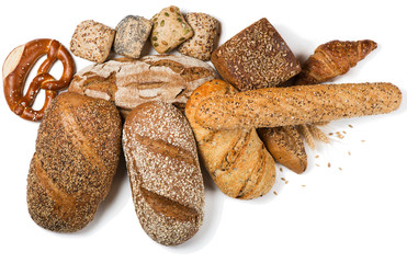 Different bread products, above view.