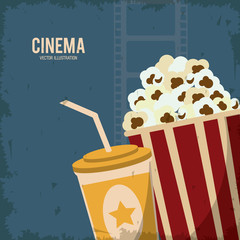 soda pop corn movie film going to cinema icon. Colorfull and grunge illustration. Vector graphic