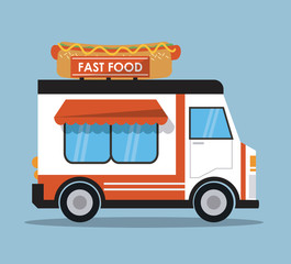 hot dog truck fast food delivery transportation creative icon. Colorfull illustration. Vector graphic