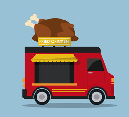 chicken truck fast food delivery transportation creative icon. Colorfull illustration. Vector graphic
