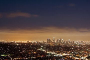 wide view of Downtown Los Angeles at night