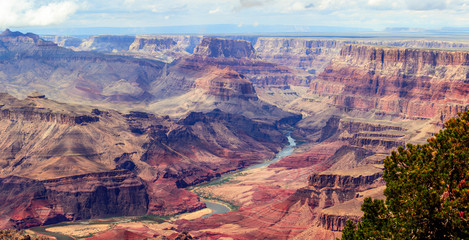 Fototapeta Panorama image of Colorado river through Grand Canyon