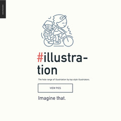 Illustartion block website template - contemporary flat vector icon of illustration development and a corresponding text and button layout on light background, for design studio website