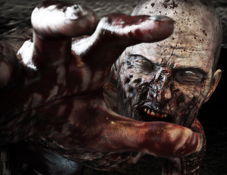 Close-up portrait of a horrible scary zombie attacking, reaching for its unsuspecting victim . Horror. Halloween. 3d rendering