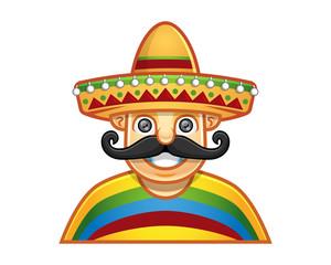 Vector of man wearing sombrero
