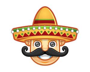 Vector of man wearing sombrero with mustache