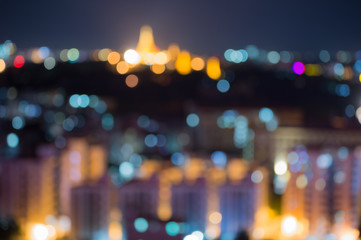 Abstract lights, blurred background with bokeh of city lights.