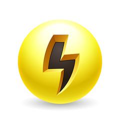 Lightning icon yellow ball on white background.