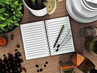 Тетрадь для рецептов на кухонном столе