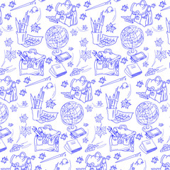 Seamless pattern of school supplies. The globe, a briefcase, sheets, ink, pen, pens, pencils, notebook