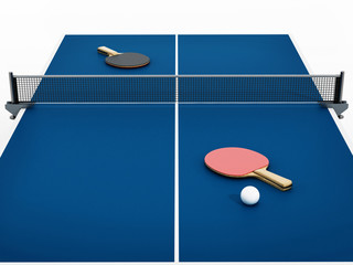3D illustration of Ping pong table, rackets and ball.
