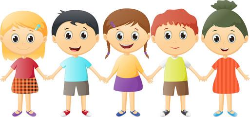 small children holding hands