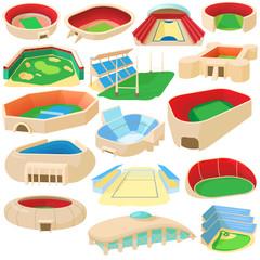 Cartoon sport stadium icons set. Universal sport stadium icons to use for web and mobile UI, set of basic sport stadium elements isolated vector illustration