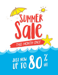 Summer Sale heading design on wave and cute hand draw style for