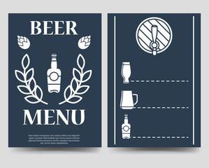 Beer brochure flyer template. Beer menu vector design A5