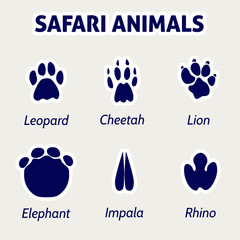 Safari animals footprint blue coclor stickers. Vector illustration