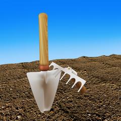 Plants shovel, 3d illustration