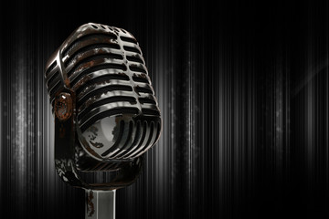 3d illustration rusty microphone on a dark background