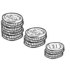Vector Set of Sketch Coins Stacks
