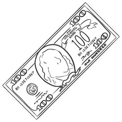 Vector Single Sketch One Hundred Dollars Banknote
