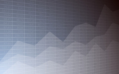 Abstract Business chart with uptrend line graph and stock numbers in bull market on gray background (vector)