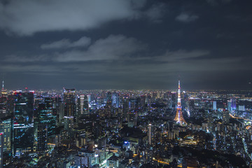 modern cityscape night view, overlook from skyscraper, tokyo, japan