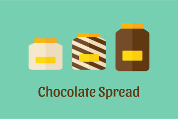 Vector illustration of different Chocolate Spread jars: white, brown dark and mixed