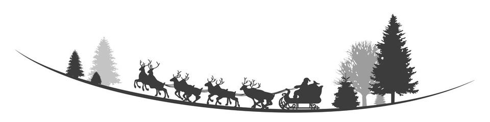 Santa Clause mit Schlitten und Rentieren