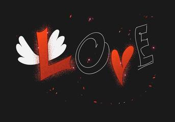 ПриVector love card with heart, wings and caption LOVE on dark b