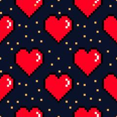 Vector 8 bit pixel hearts Valentines Day retro pattern