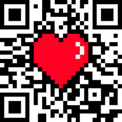 """Vector QR code with encoded """"LOVE"""" caption and 8 bit pixel heart Valentines Day card"""