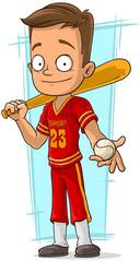 Cartoon baseball player in red uniform