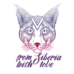 Vector Illustration of an Ornamental Ethnic Lynx Head. head Siberian lynx. suitable for logo print T-shirt