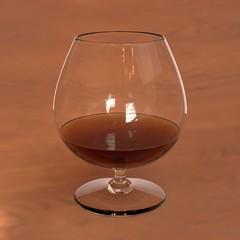 ブランデーグラスに注がれた洋酒の3Dレンダリング画像