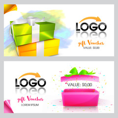 Creative Gift Voucher or Coupon template.