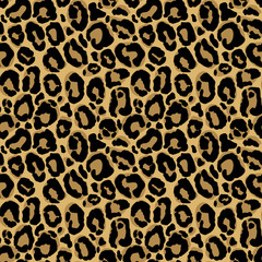 Vector seamless pattern with leopard fur texture. Repeating leop