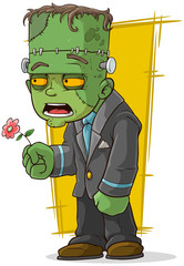 Cartoon green zombie monster with flower