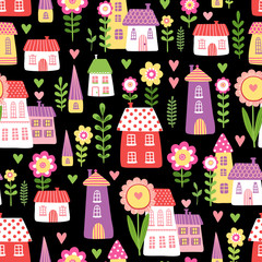 Vector seamless illustration of cheerful houses and flowers on a black background. Picture made in cartoon style.