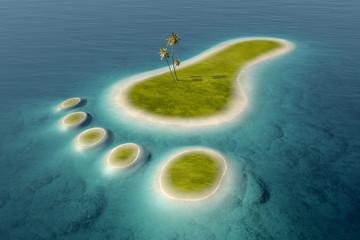 Eco footprint shaped island