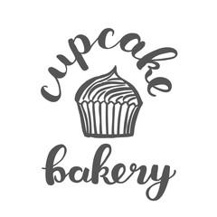 Brush lettering label for cupcake bakery