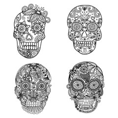 Lines art design of unique floral skulls for adult coloring pages,tattoo, design element for Halloween cards or invitations - Stock vector