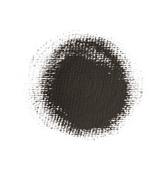 Black acrylic textured circle. Round grunge spot