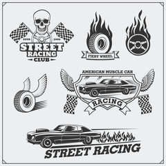 Street racing emblems, labels, badges and design elements. Vintage style.