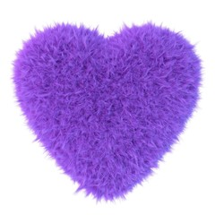 Purple fur heart, 3D render