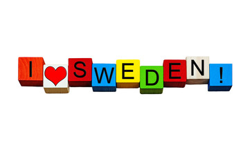 I Love Sweden, sign for Swedish culture, Stockholm, travel. Isolated.
